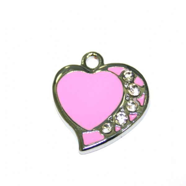 1 x 21*19mm rhodium plated pink curved heart enamel charm with multi rhinestone - SD03 - CHE1323